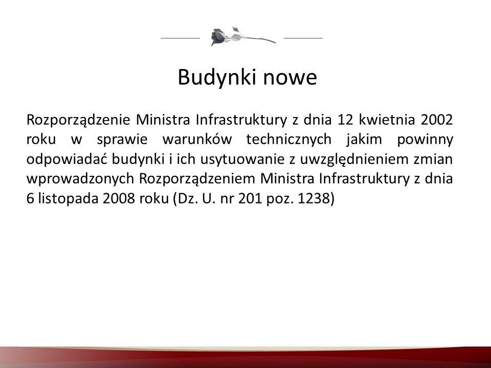Budynki nowe Rozporządzenie Ministra Infrastruktury z dnia 12 kwietnia 2002 roku w sprawie warunków technicznych jakim powinny odpowiadać budynki i ic