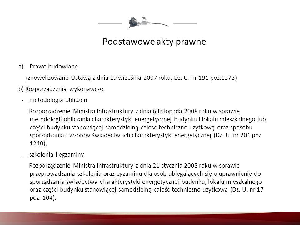 Podstawowe akty prawne a)Prawo budowlane (znowelizowane Ustawą z dnia 19 września 2007 roku, Dz. U. nr 191 poz.1373) b) Rozporządzenia wykonawcze: - m