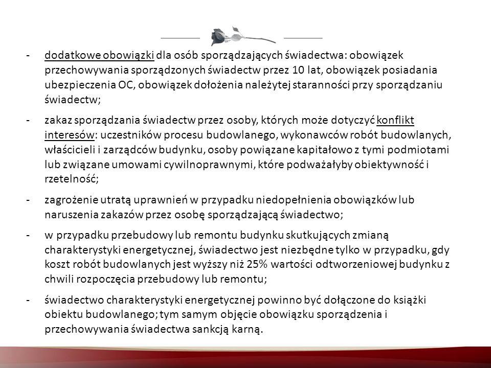 -dodatkowe obowiązki dla osób sporządzających świadectwa: obowiązek przechowywania sporządzonych świadectw przez 10 lat, obowiązek posiadania ubezpiec