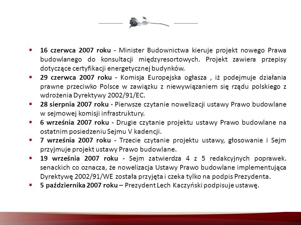 16 czerwca 2007 roku - Minister Budownictwa kieruje projekt nowego Prawa budowlanego do konsultacji międzyresortowych. Projekt zawiera przepisy dotycz