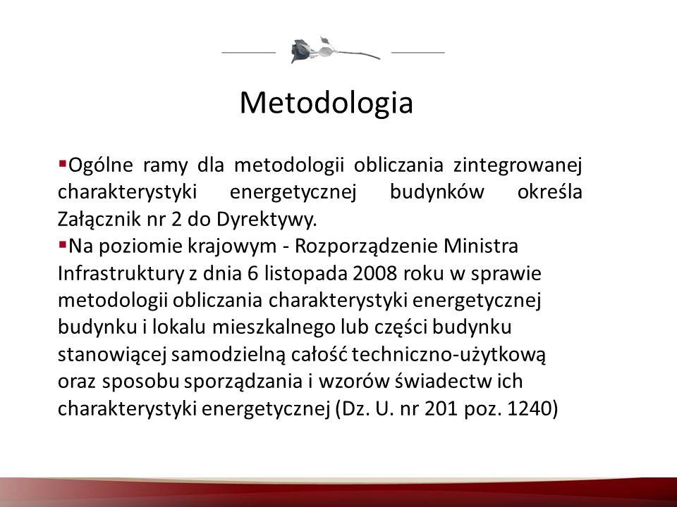 Metodologia Ogólne ramy dla metodologii obliczania zintegrowanej charakterystyki energetycznej budynków określa Załącznik nr 2 do Dyrektywy. Na poziom
