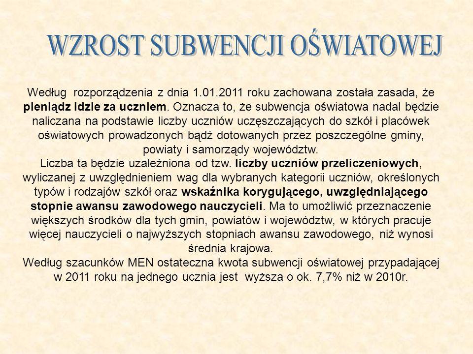 Według rozporządzenia z dnia 1.01.2011 roku zachowana została zasada, że pieniądz idzie za uczniem. Oznacza to, że subwencja oświatowa nadal będzie na