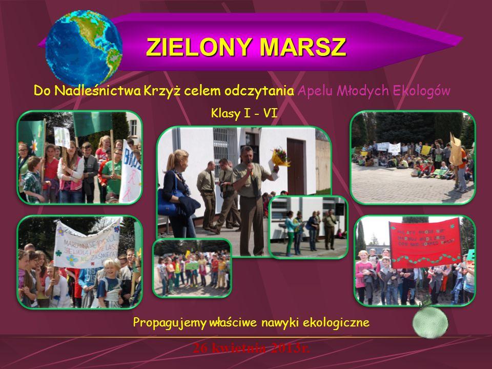 ZIELONY MARSZ 26 kwietnia 2013r. Klasy I - VI Do Nadleśnictwa Krzyż celem odczytania Apelu Młodych Ekologów Propagujemy właściwe nawyki ekologiczne
