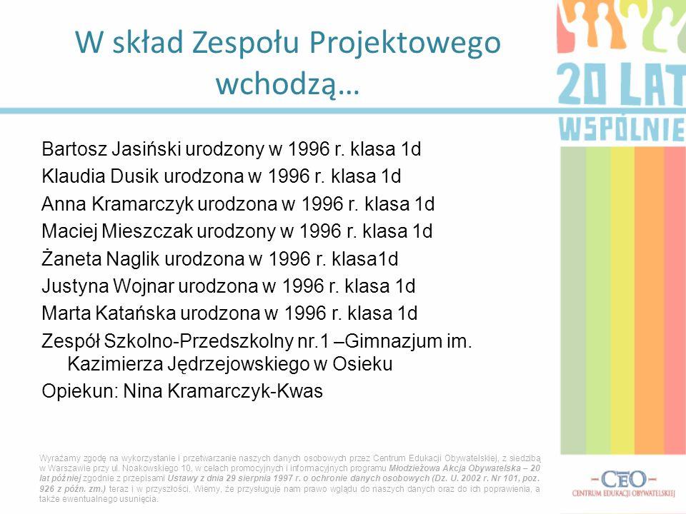 Bartosz Jasiński urodzony w 1996 r. klasa 1d Klaudia Dusik urodzona w 1996 r. klasa 1d Anna Kramarczyk urodzona w 1996 r. klasa 1d Maciej Mieszczak ur