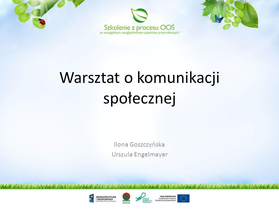 Warsztat o komunikacji społecznej Ilona Goszczyńska Urszula Engelmayer