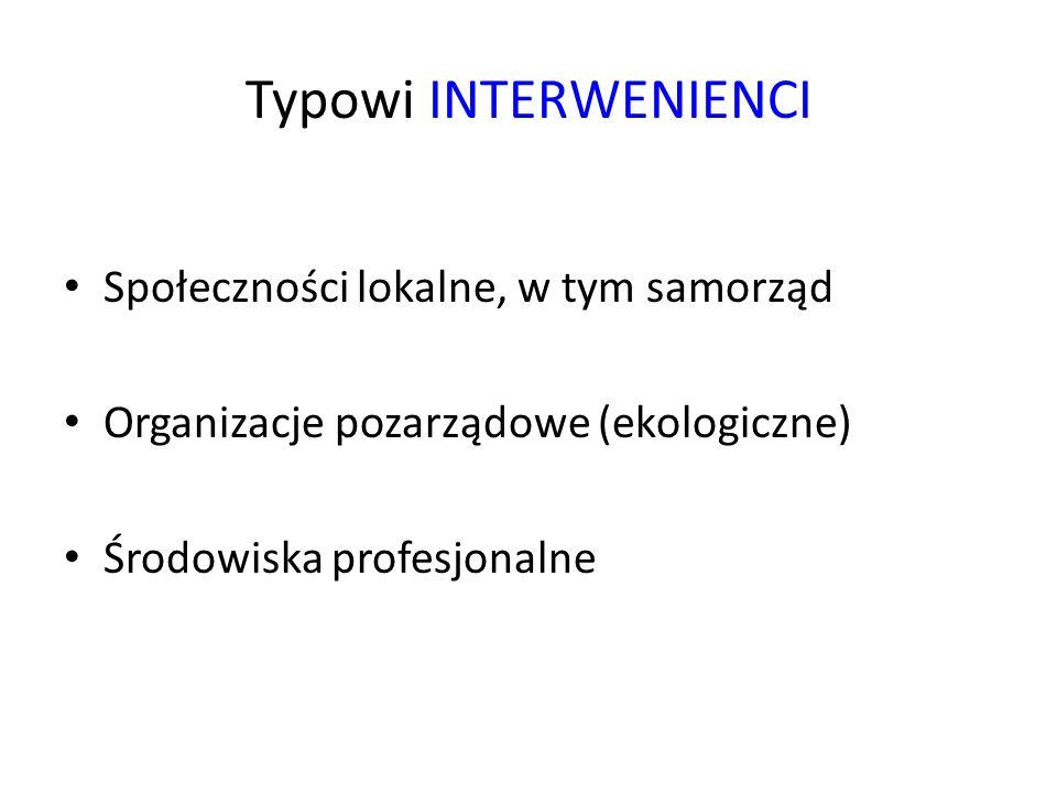 Typowi INTERWENIENCI Społeczności lokalne, w tym samorząd Organizacje pozarządowe (ekologiczne) Środowiska profesjonalne