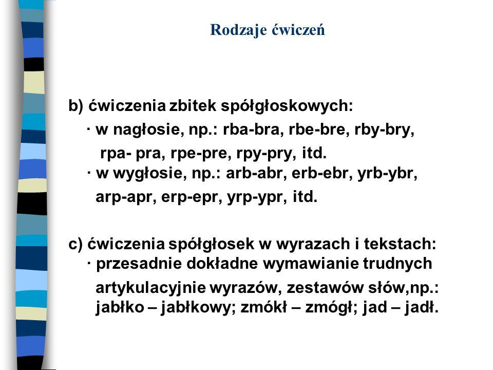 Rodzaje ćwiczeń b) ćwiczenia zbitek spółgłoskowych: · w nagłosie, np.: rba-bra, rbe-bre, rby-bry, rpa- pra, rpe-pre, rpy-pry, itd. · w wygłosie, np.: