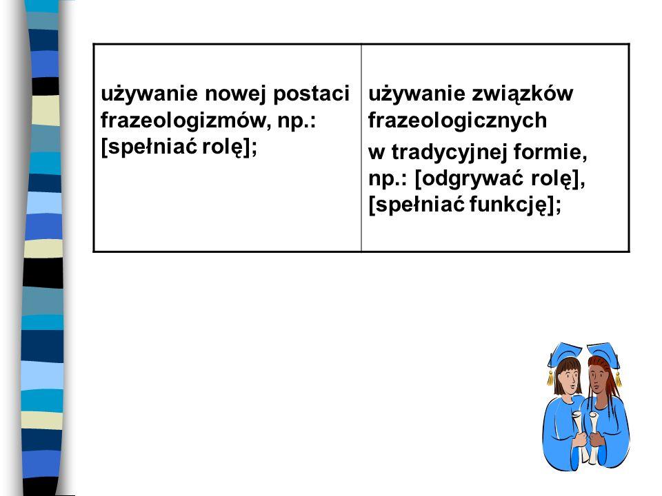 używanie nowej postaci frazeologizmów, np.: [spełniać rolę]; używanie związków frazeologicznych w tradycyjnej formie, np.: [odgrywać rolę], [spełniać