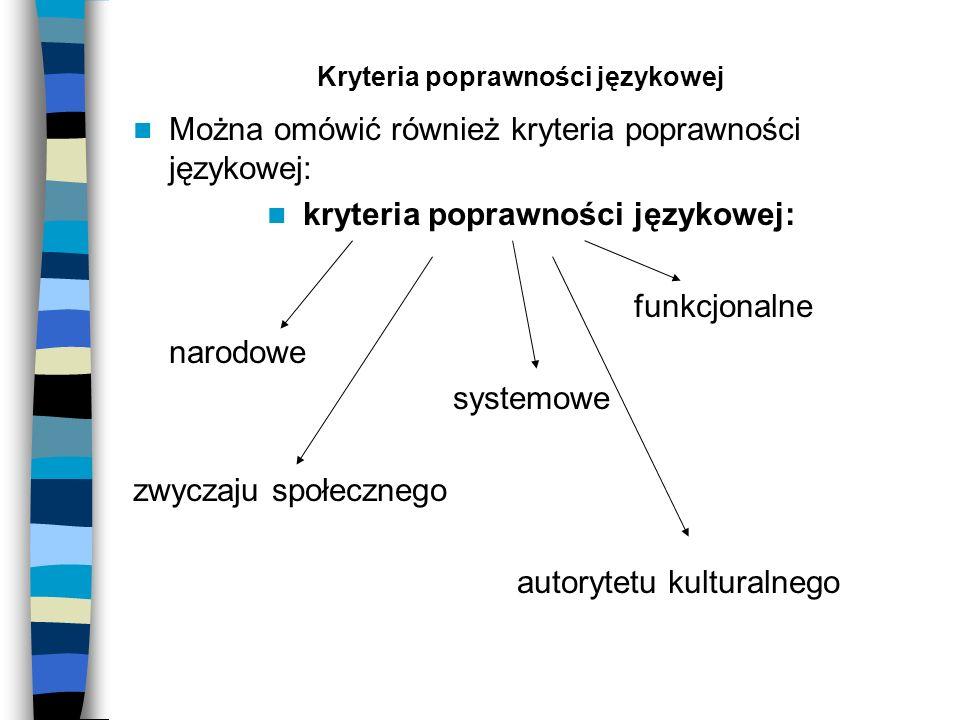 Kryteria poprawności językowej Można omówić również kryteria poprawności językowej: kryteria poprawności językowej: funkcjonalne narodowe systemowe zw