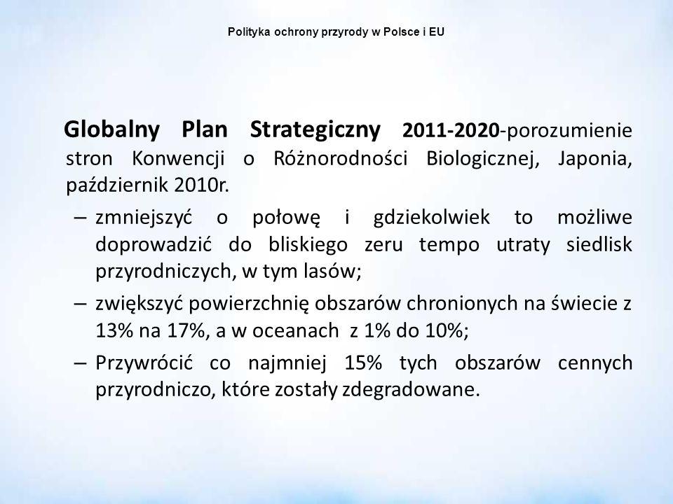 Globalny Plan Strategiczny 2011-2020-porozumienie stron Konwencji o Różnorodności Biologicznej, Japonia, październik 2010r. – zmniejszyć o połowę i gd