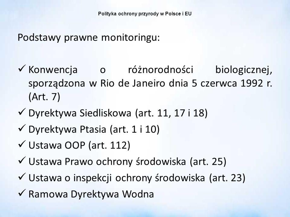 Polityka ochrony przyrody w Polsce i EU Podstawy prawne monitoringu: Konwencja o różnorodności biologicznej, sporządzona w Rio de Janeiro dnia 5 czerw