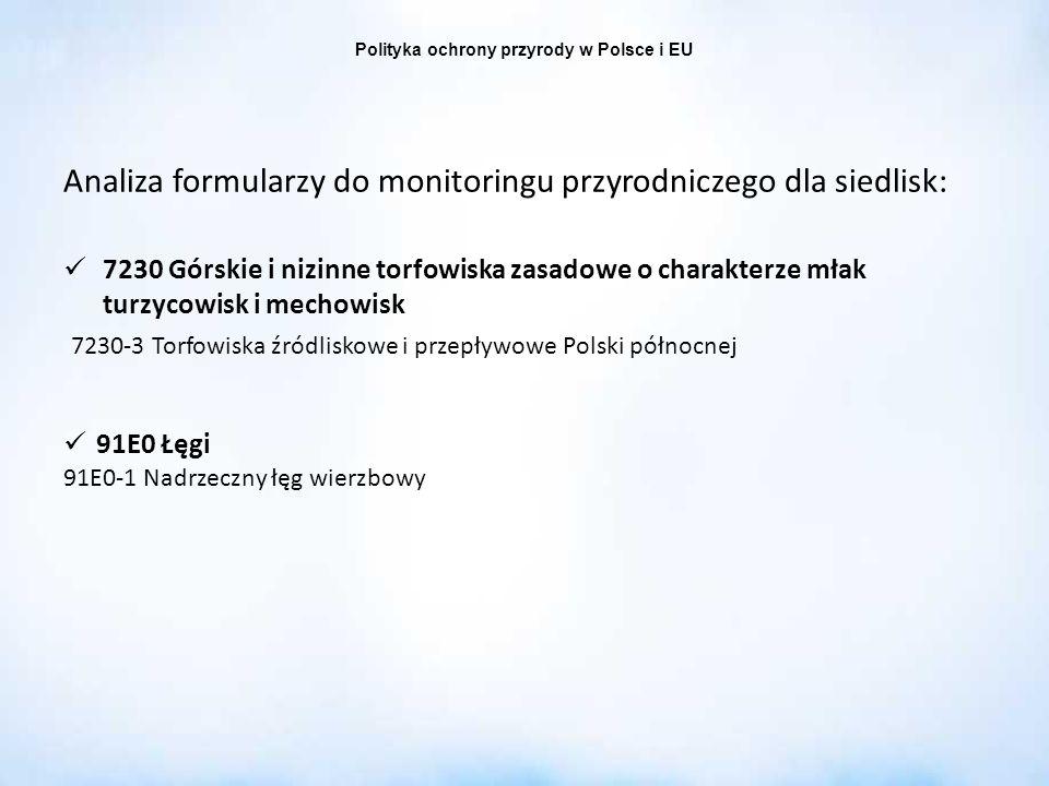 Polityka ochrony przyrody w Polsce i EU Analiza formularzy do monitoringu przyrodniczego dla siedlisk: 7230 Górskie i nizinne torfowiska zasadowe o ch