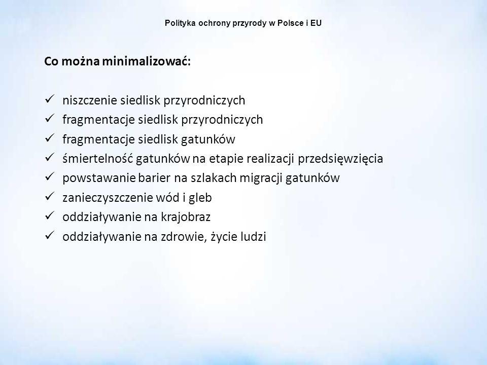 Polityka ochrony przyrody w Polsce i EU Co można minimalizować: niszczenie siedlisk przyrodniczych fragmentacje siedlisk przyrodniczych fragmentacje s