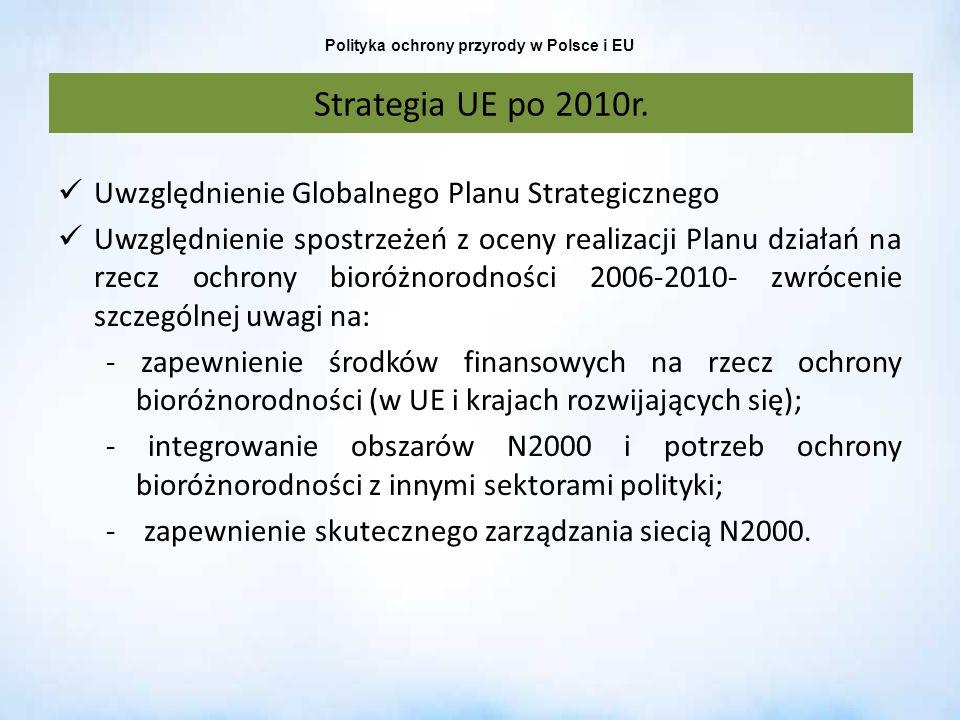 Polityka ochrony przyrody w Polsce i EU Strategia UE po 2010r. Uwzględnienie Globalnego Planu Strategicznego Uwzględnienie spostrzeżeń z oceny realiza