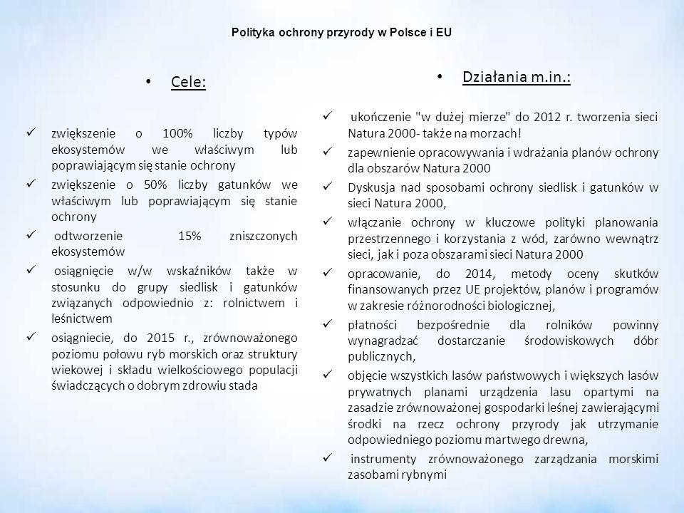 Polityka ochrony przyrody w Polsce i EU Cele: zwiększenie o 100% liczby typów ekosystemów we właściwym lub poprawiającym się stanie ochrony zwiększeni