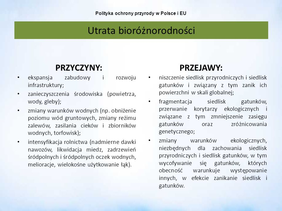 Polityka ochrony przyrody w Polsce i EU Utrata bioróżnorodności PRZYCZYNY: ekspansja zabudowy i rozwoju infrastruktury; zanieczyszczenia środowiska (p