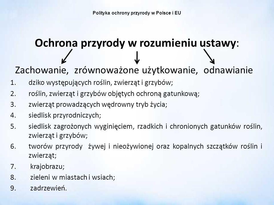 Polityka ochrony przyrody w Polsce i EU Ochrona przyrody w rozumieniu ustawy: Zachowanie, zrównoważone użytkowanie, odnawianie 1.dziko występujących r