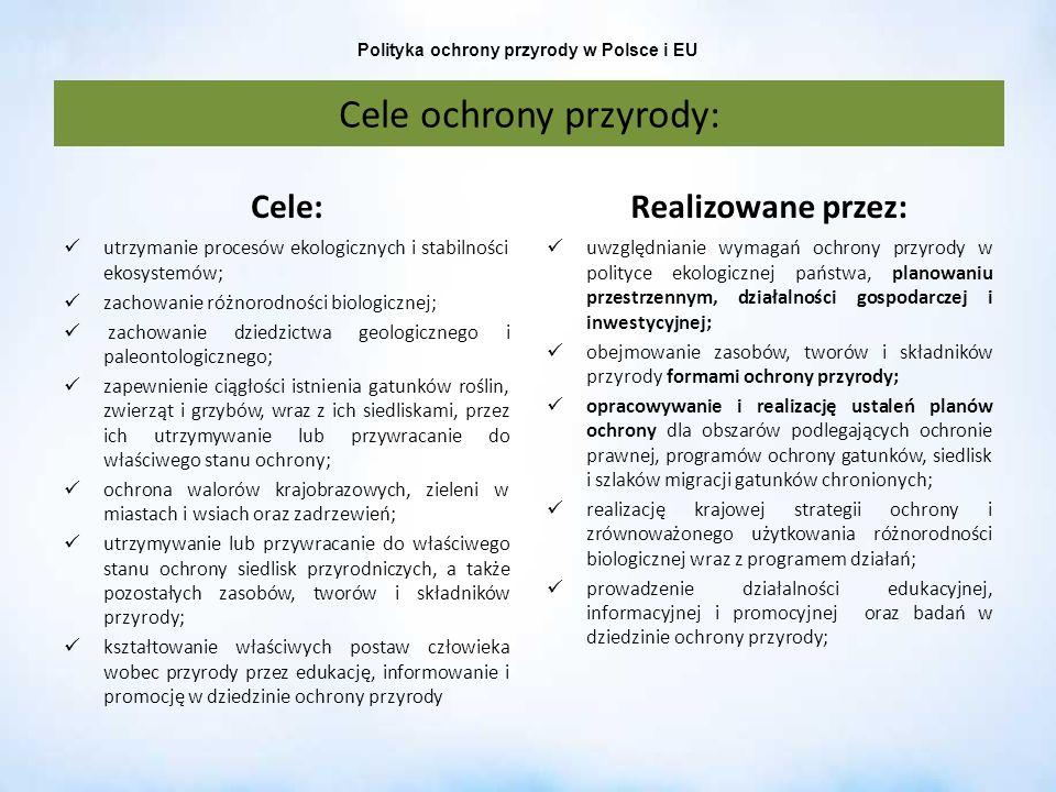 Polityka ochrony przyrody w Polsce i EU Cele: utrzymanie procesów ekologicznych i stabilności ekosystemów; zachowanie różnorodności biologicznej; zach