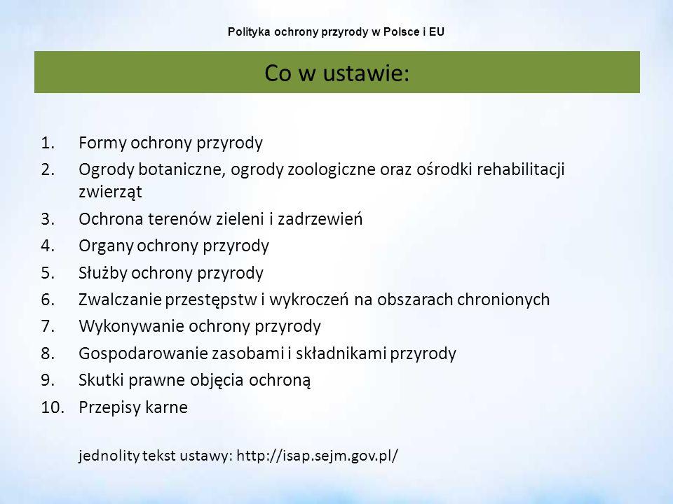 Polityka ochrony przyrody w Polsce i EU Co w ustawie: 1.Formy ochrony przyrody 2.Ogrody botaniczne, ogrody zoologiczne oraz ośrodki rehabilitacji zwie