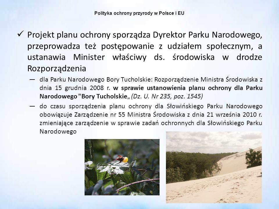 Polityka ochrony przyrody w Polsce i EU Projekt planu ochrony sporządza Dyrektor Parku Narodowego, przeprowadza też postępowanie z udziałem społecznym