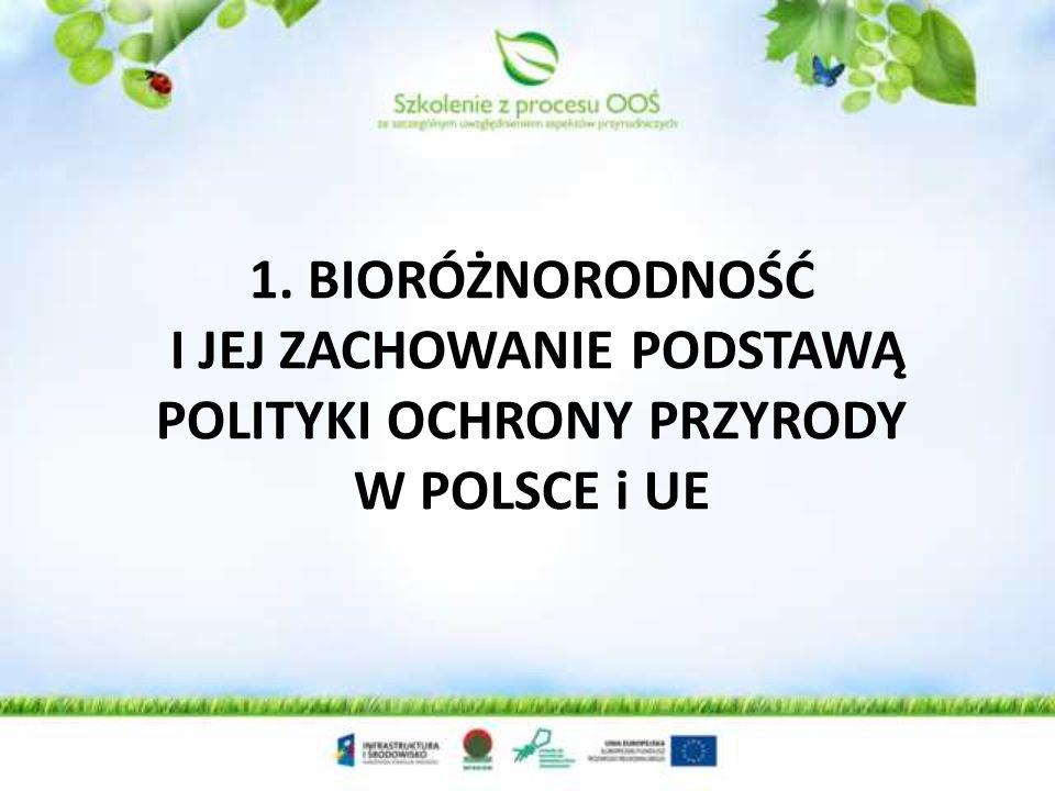 Polityka ochrony przyrody w Polsce i EU Definicja Różnorodność biologiczna - zróżnicowanie wszystkich żywych organizmów pochodzących, inter alia, z ekosystemów lądowych, morskich i innych wodnych ekosystemów oraz zespołów ekologicznych, których są one częścią.