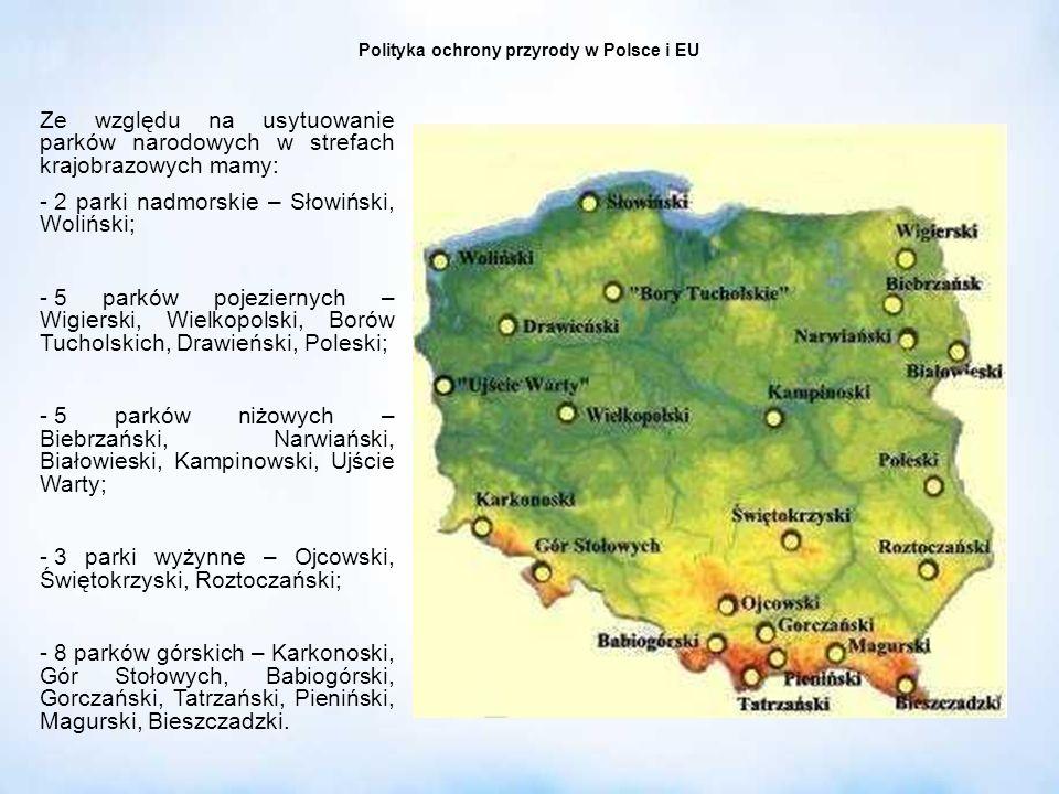 Polityka ochrony przyrody w Polsce i EU Ze względu na usytuowanie parków narodowych w strefach krajobrazowych mamy: - 2 parki nadmorskie – Słowiński,