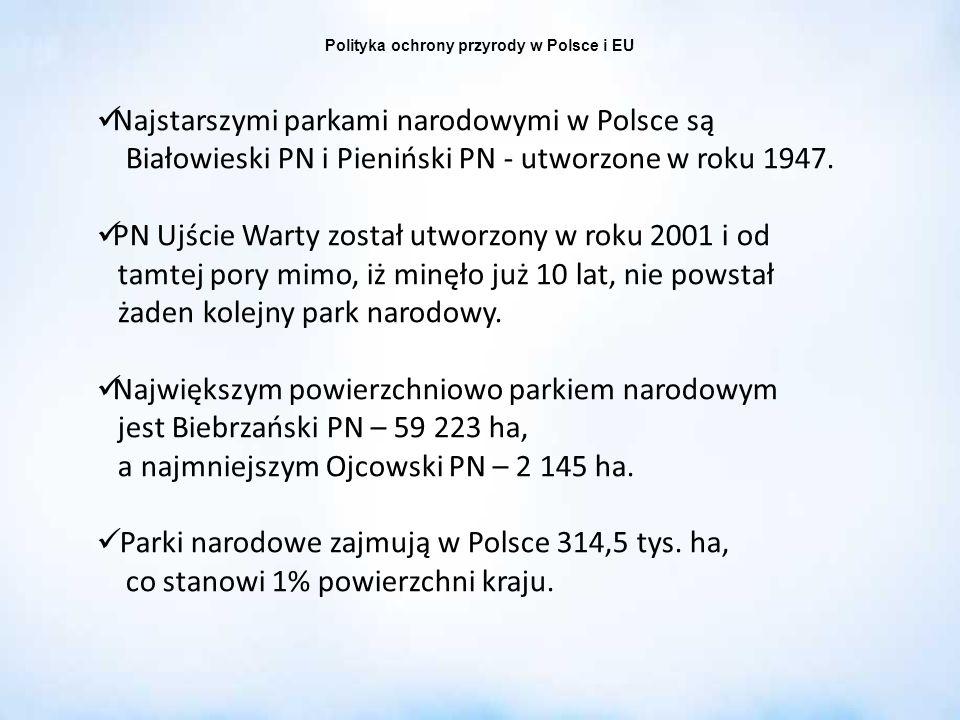 Polityka ochrony przyrody w Polsce i EU Najstarszymi parkami narodowymi w Polsce są Białowieski PN i Pieniński PN - utworzone w roku 1947. PN Ujście W