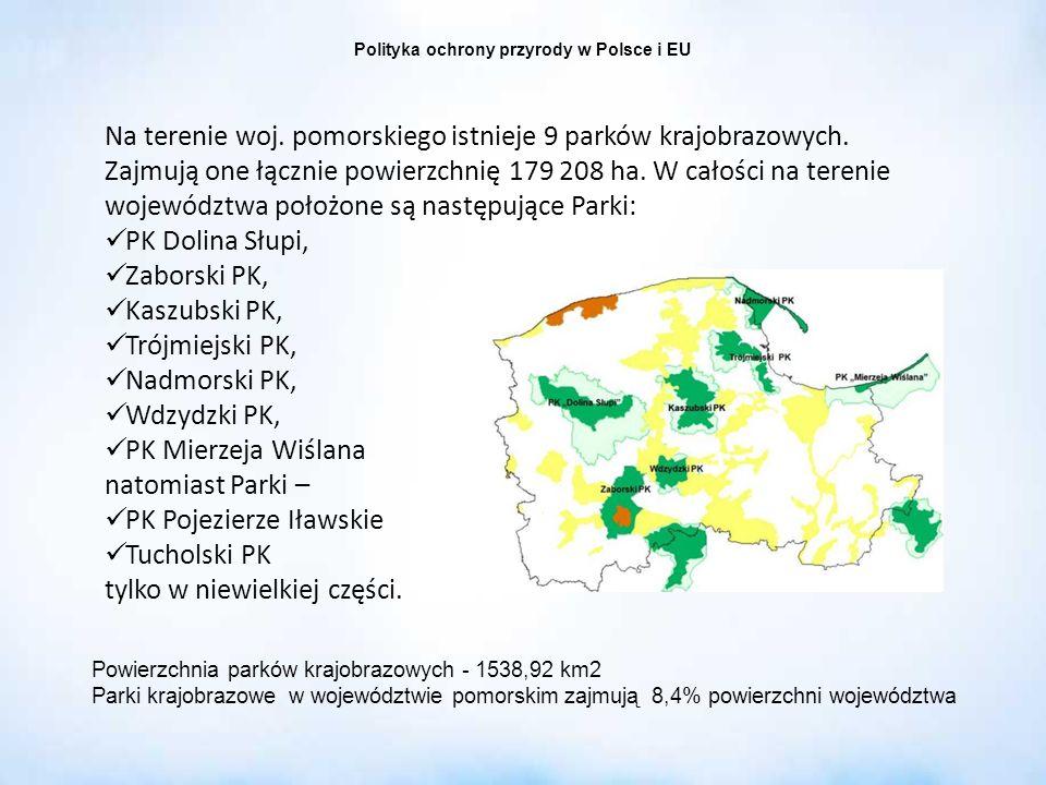 Polityka ochrony przyrody w Polsce i EU Na terenie woj. pomorskiego istnieje 9 parków krajobrazowych. Zajmują one łącznie powierzchnię 179 208 ha. W c