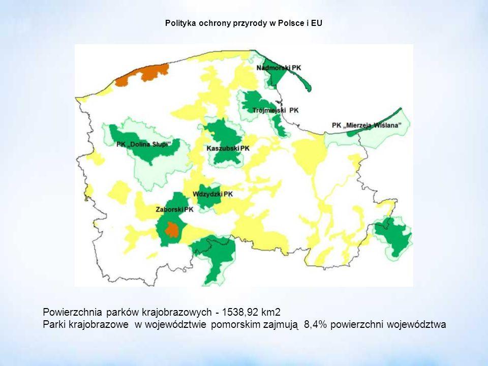 Polityka ochrony przyrody w Polsce i EU Powierzchnia parków krajobrazowych - 1538,92 km2 Parki krajobrazowe w województwie pomorskim zajmują 8,4% powi