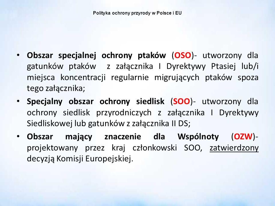 Polityka ochrony przyrody w Polsce i EU Obszar specjalnej ochrony ptaków (OSO)- utworzony dla gatunków ptaków z załącznika I Dyrektywy Ptasiej lub/i m