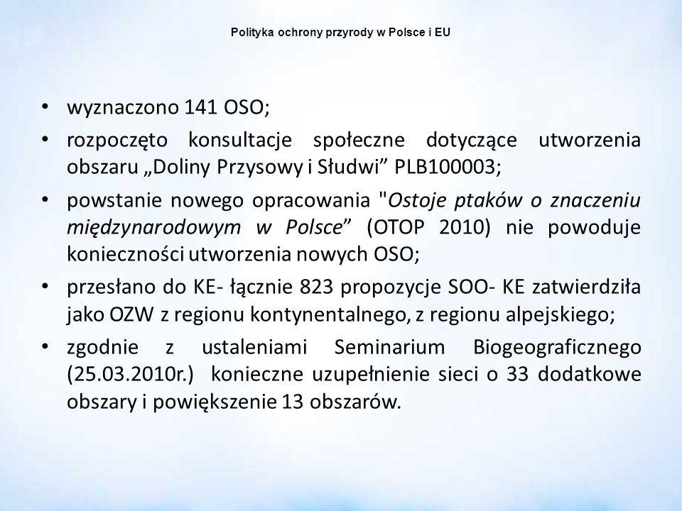 Polityka ochrony przyrody w Polsce i EU wyznaczono 141 OSO; rozpoczęto konsultacje społeczne dotyczące utworzenia obszaru Doliny Przysowy i Słudwi PLB
