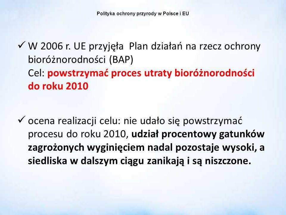 Polityka ochrony przyrody w Polsce i EU W 2006 r. UE przyjęła Plan działań na rzecz ochrony bioróżnorodności (BAP) Cel: powstrzymać proces utraty bior