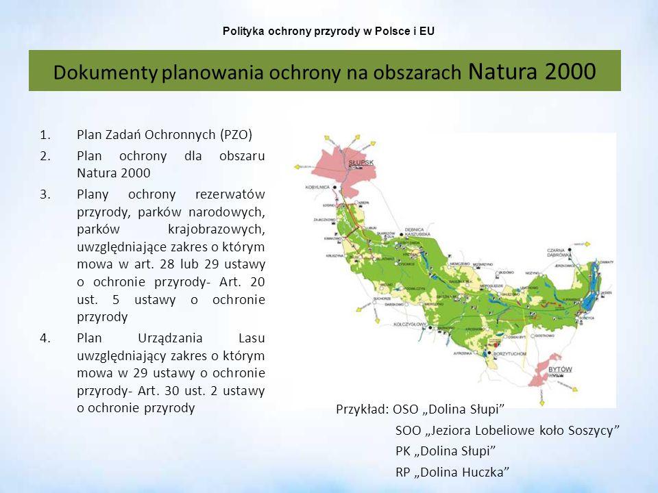 Polityka ochrony przyrody w Polsce i EU 1.Plan Zadań Ochronnych (PZO) 2.Plan ochrony dla obszaru Natura 2000 3.Plany ochrony rezerwatów przyrody, park