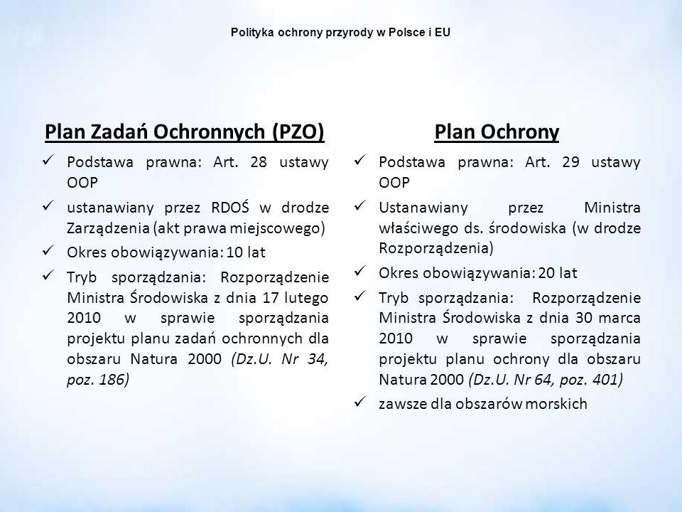 Polityka ochrony przyrody w Polsce i EU Plan Zadań Ochronnych (PZO) Podstawa prawna: Art. 28 ustawy OOP ustanawiany przez RDOŚ w drodze Zarządzenia (a