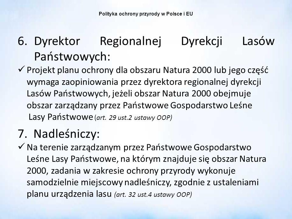 Polityka ochrony przyrody w Polsce i EU 6.Dyrektor Regionalnej Dyrekcji Lasów Państwowych: Projekt planu ochrony dla obszaru Natura 2000 lub jego częś