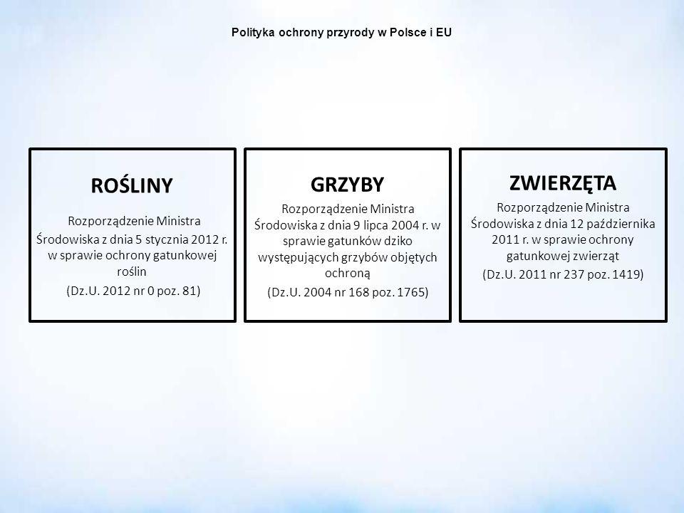 Polityka ochrony przyrody w Polsce i EU ROŚLINY Rozporządzenie Ministra Środowiska z dnia 5 stycznia 2012 r. w sprawie ochrony gatunkowej roślin (Dz.U
