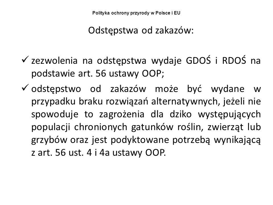 Polityka ochrony przyrody w Polsce i EU Odstępstwa od zakazów: zezwolenia na odstępstwa wydaje GDOŚ i RDOŚ na podstawie art. 56 ustawy OOP; odstępstwo