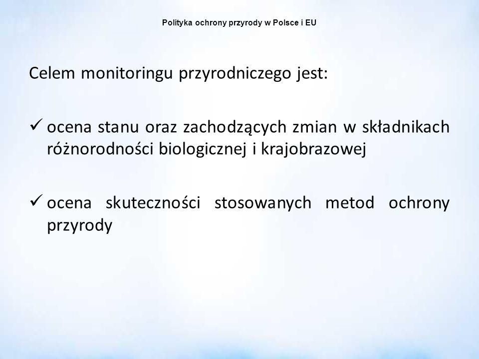 Polityka ochrony przyrody w Polsce i EU Celem monitoringu przyrodniczego jest: ocena stanu oraz zachodzących zmian w składnikach różnorodności biologi