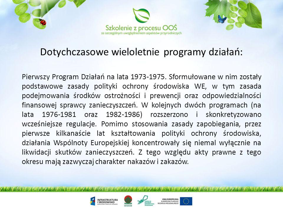 Szczególne znaczenie dla realizacji celów ochrony środowiska w UE mają wieloletnie programy działania. Wyznaczają one kierunki, cele oraz priorytety i