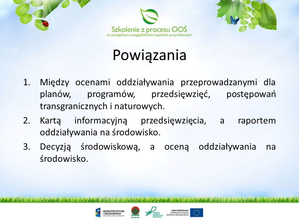Przykłady 1.Właściwej kwalifikacji przedsięwzięć. 2.Kart Informacyjnych przedsięwzięć. 3.Raportów oddziaływania na środowisko. 4.Procedur środowiskowy