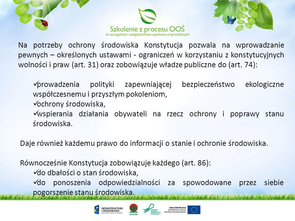 Ochrona środowiska jest obecnie jednym z głównych zadań współczesnego społeczeństwa i państwa Zgodnie z Konstytucją Rzeczypospolitej Polskiej z dnia 2