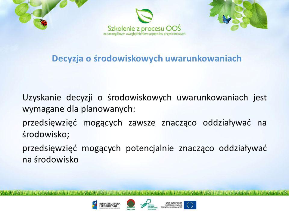 Ocena oddziaływania dla przedsięwzięć Decyzja środowiskowe Ponowna ocena Ocena oddziaływania na obszar Natura