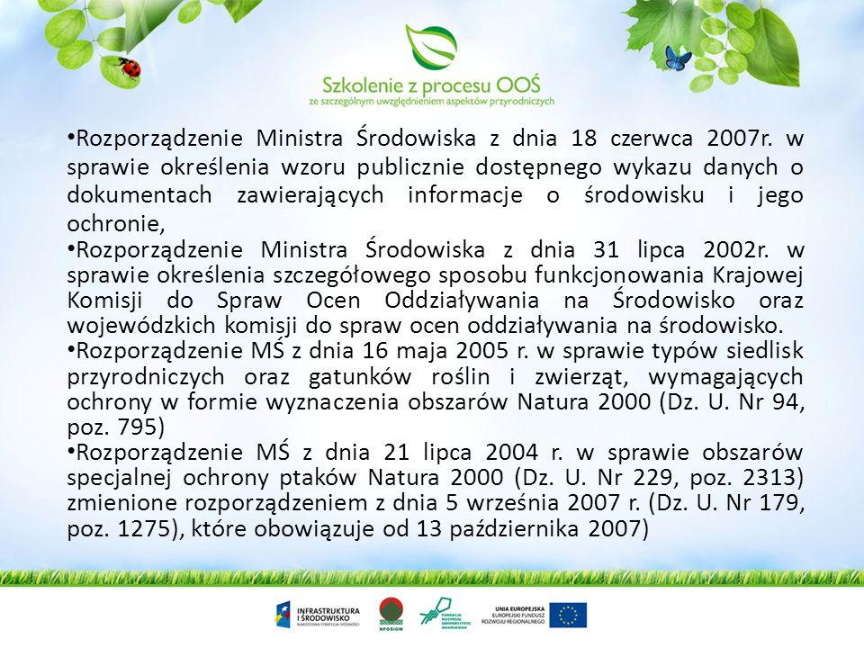 Rozporządzenie Rady Ministrów z dnia 9 listopada 2010r. w sprawie przedsięwzięć mogących znacząco oddziaływać na środowisko (Dz.U. nr 213 poz.1397) –