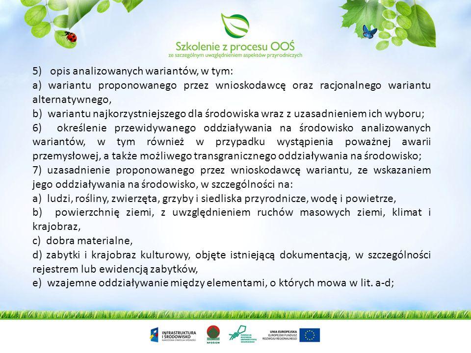 2) opis elementów przyrodniczych środowiska objętych zakresem przewidywanego oddziaływania planowanego przedsięwzięcia na środowisko, w tym elementów