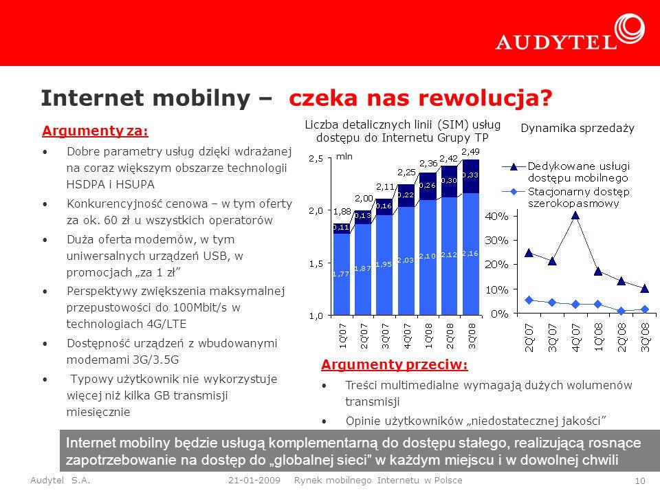 Audytel S.A. 21-01-2009 Rynek mobilnego Internetu w Polsce 10 Internet mobilny – czeka nas rewolucja? Argumenty za: Dobre parametry usług dzięki wdraż