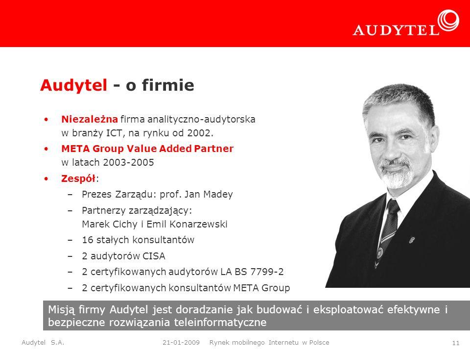 Audytel S.A. 21-01-2009 Rynek mobilnego Internetu w Polsce 11 Audytel - o firmie Niezależna firma analityczno-audytorska w branży ICT, na rynku od 200