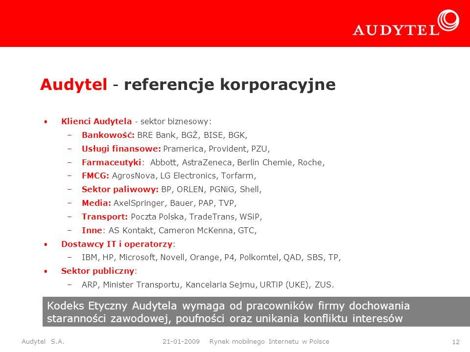 Audytel S.A. 21-01-2009 Rynek mobilnego Internetu w Polsce 12 Audytel – referencje korporacyjne Klienci Audytela – sektor biznesowy: –Bankowość: BRE B