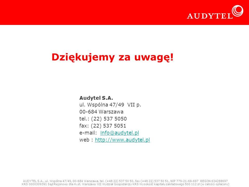 Audytel S.A. 21-01-2009 Rynek mobilnego Internetu w Polsce 13 Dziękujemy za uwagę! Audytel S.A. ul. Wspólna 47/49 VII p. 00-684 Warszawa tel.: (22) 53
