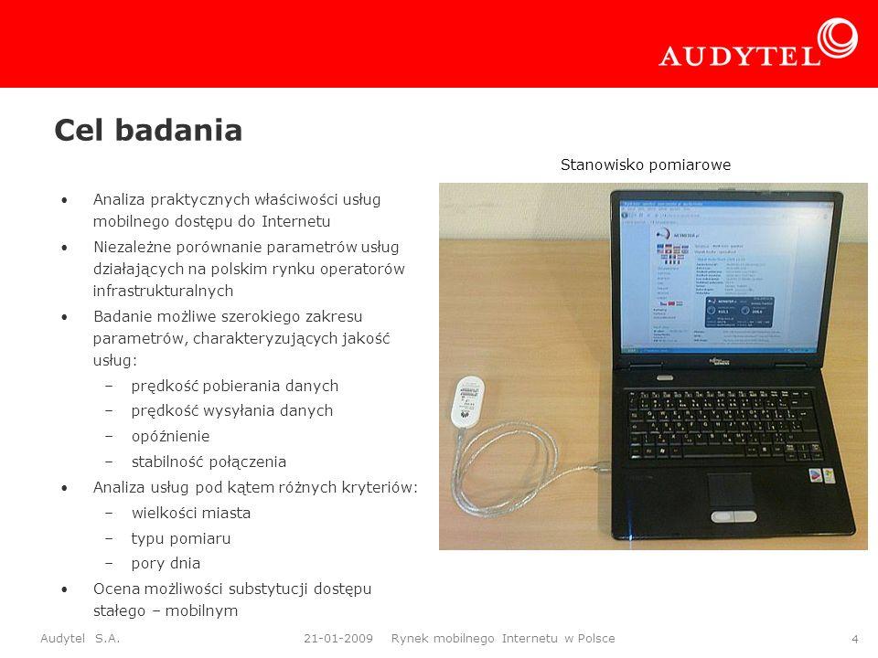 Audytel S.A. 21-01-2009 Rynek mobilnego Internetu w Polsce 4 Cel badania Analiza praktycznych właściwości usług mobilnego dostępu do Internetu Niezale