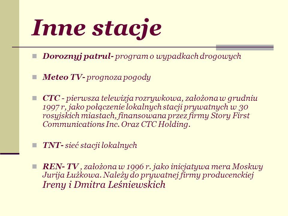 Inne stacje Doroznyj patrul- program o wypadkach drogowych Meteo TV- prognoza pogody CTC - pierwsza telewizja rozrywkowa, założona w grudniu 1997 r, j